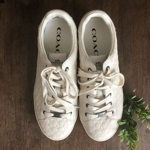 Authentic Coach White Leather Low-Top Sneakers